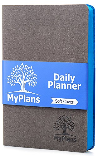 (Undated Daily Planner and Journal (Faux Leather) Weekly and Monthly Organizer | Home, Travel or Student Calendar | Organize Appointments, Dates, Holidays and Events | Soft Cover | Gray)