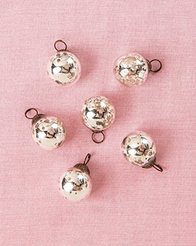 Luna Bazaar Mini Mercury Glass Ornaments (Ava Classic Ball Design, 1 - 1.5 Inches, Silver, Set of 6) - Vintage-Style Mercury Glass Christmas - Glass Design Christmas Ornament