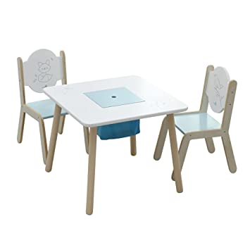 Amazon.com: Labebe Wooden Activity Table Chair Set, Bird Printed ...