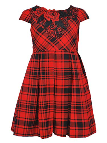 Bonnie Jean Girls 4-16 Red Embroidered Holiday Christmas Party Plaid Dress (4) Bonnie Jean Embroidered Jeans