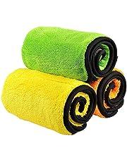 Bayetas para vehículos, Trehai Bayeta de limpieza de microfibra 840 gsm doble capa de pulido secado cera auto detailing paños para lavar el coche (3 unidades ; 38 x 45 cm)