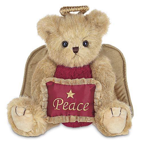 Bearington Angelina Christmas Plush Stuffed Animal Angel Teddy Bear with Peace Pillow, 10 inches