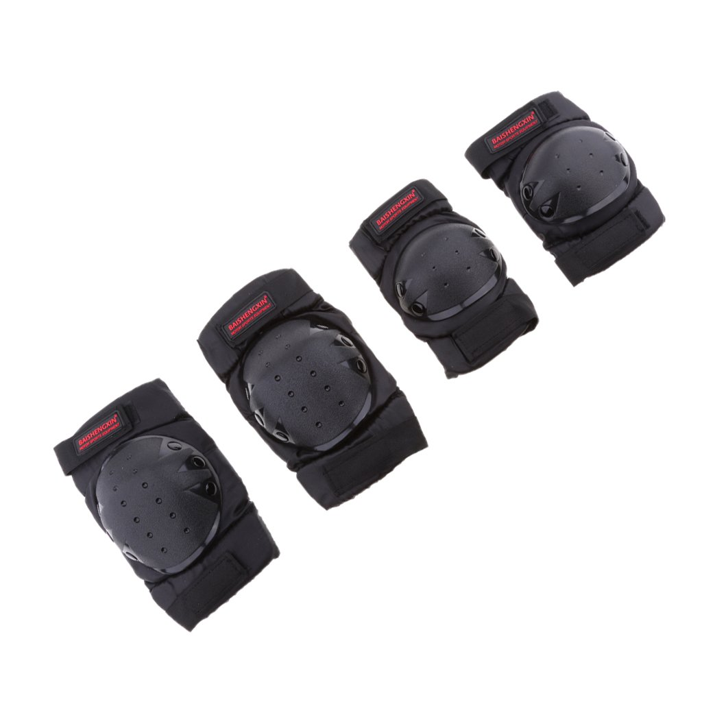 Homyl 4Pcs Motorcycle Knee Elbow Protector Motocross Racing Knee Shin Guard Pads Protective Gear for Children & Adults