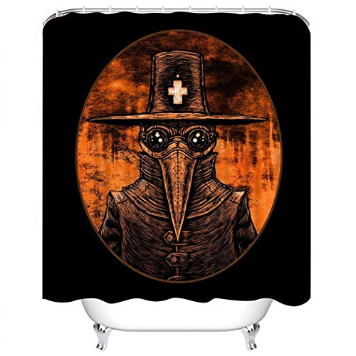Wesbin Shower Curtain Set Bubonic Plague Doctor Graphic on Fire London Old Abstract Bathroom Decor Set with 12 Hooks 72X78 Inches Waterproof Polyester Fabric Shower Curtain for Bathroom -
