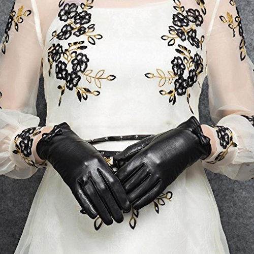 CASF Women's Lambskin Leather Driving Gloves For Women With Chic Bow Black S