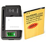 battery of samsung s4 mini - Gold Extended Samsung Galaxy S 4 Mini GT-I9190 High Capacity Battery B500AE B500BE B500BU B500BZ + Universal Battery Charger With LED Indicator For Samsung Galaxy S 4 Mini GT-I9190 / Samsung Galaxy S4 Mini GT-I9192 GT-I9195 2850 mAh