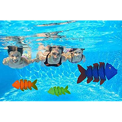Littlefun Foam Water Blasters Gun Diving Toys Underwater Swimming Pool Toys Diving Rings, Diving Torpedo, Fishes for Kid Summer Play Training Exploring(2-Pack Foam Water Blasters with Diving Toys): Toys & Games