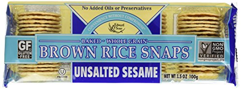 Edward & Sons Brown Rice Snaps, Sesame, 3.5-Ounce