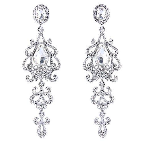 - BriLove Wedding Bridal Dangle Earrings for Women Victorian Style Crystal Teardrop Chandelier Earrings Clear Silver-Tone