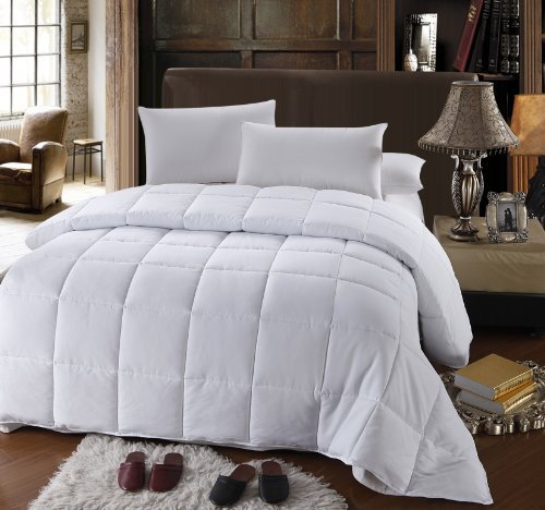 Royal Hotel Collection Full/Queen Size White Down Alternative Comforter Duvet Insert 300 Thread Count 50 Oz Down ALT Fillings