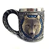 FZZ698 3D Pattern Mug Creative Cup Stainless Steel Coffee Tea Cup Wine Container with Wolf King Head (multi)