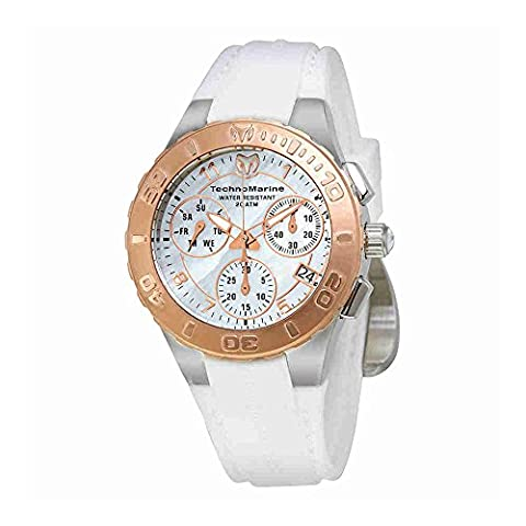 Technomarine Women's 'Cruise Medusa' Swiss Quartz Stainless Steel and Silicone Casual Watch, Color:White (Model: - Chronograph White Dial