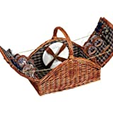 Household Essentials Woven Willow Picnic Basket, Square Shaped, Fully Lined, Service for 4