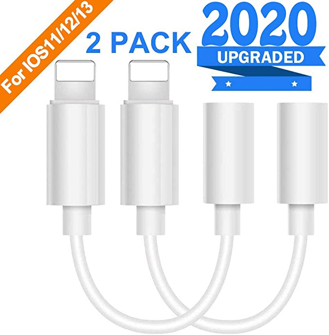 Headphone Adapter Lἱghtning to 3.5mm Dongle Connector AUX Audio Jack Stereo Car Charger for iPhone Adapter 2 in 1 Cable Charging and Cable Support for iPhone 7//7Plus//X//XS//XR//8//8Plus Support for IOS12