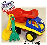 """Image of Matty's Toy Stop 12.5"""" Red, Blue & Yellow Plastic Dump Truck with Sand Shovel & Rake"""