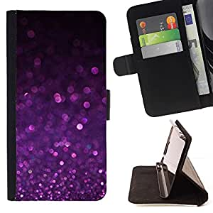 For Samsung Galaxy S6 Purple Shiny Dust Sparkling Beautiful Print Wallet Leather Case Cover With Credit Card Slots And Stand Function