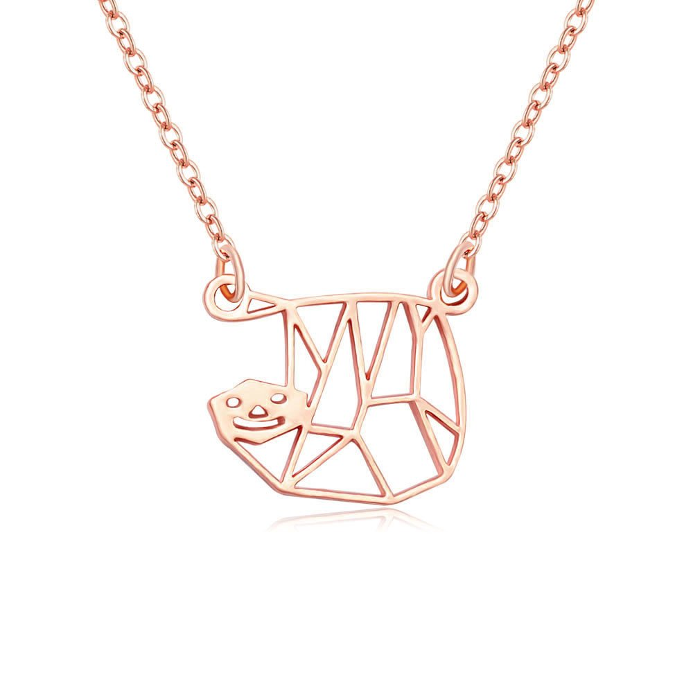 MANZHEN Tiny Sloth Necklace Sloth Origami Inspired Animal Necklace Jewelry for Women