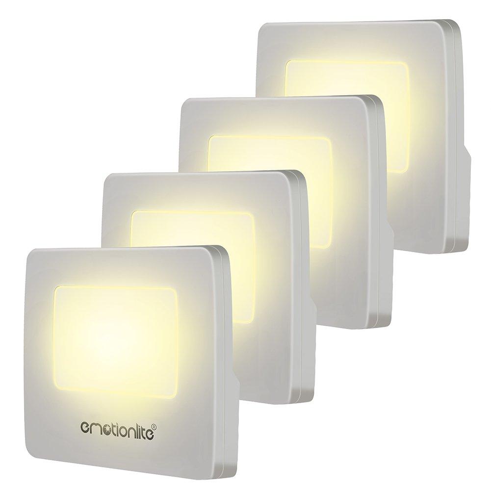 Emotionlite 4 Stück LED Nachtlicht mit Dämmerungssensor Kinder Nachtlicht Sehr gut für Kinderschlafzimmer Badezimmer Flur Treppenaufgang Korridor Schrank oder ein dunkles Zimmer Warmes weißes 2700 K