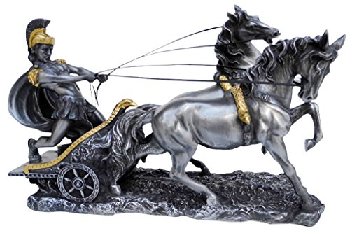 Unicorn Studios WU72011A8 Pewter and Gold Chariot Roman Sculpture
