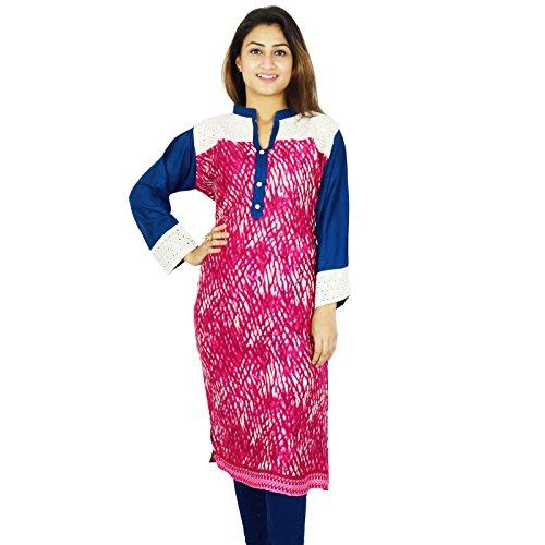 Diseñador indio Impreso Kurta Mujeres étnico Kurti algodón Rayón Top túnica del vestido Magenta