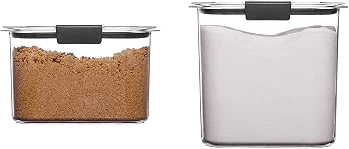 Rubbermaid Container, BPA-Free Plastic, Brilliance Pantry Airtight Food Storage, Brown Sugar (7.8 Cup) & Container, BPA-Free Plastic, Clear Brilliance Pantry Airtight Food Storage, Open Stock, 12 Cup