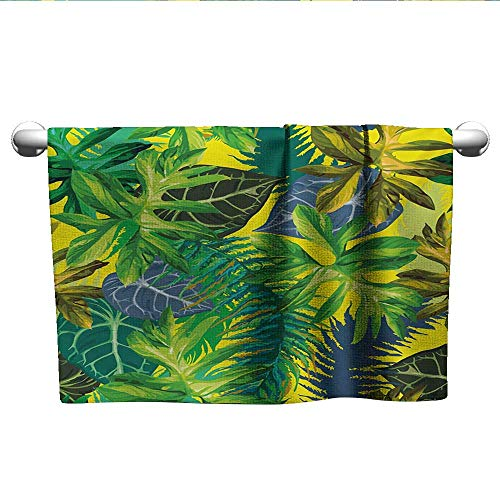 (alisoso Plant,Camping Towels Botany Themed Drawing Depicting Exotic Leaves in Tropical Environment Hawaiian Vibes Bath Towels for Kids Multicolor W 28
