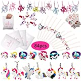 84pcs Unicorn Party Favors, Bracelets, Rings, Keychains, Necklace, Tattoos, Hair clips and Unicorn party bags. 12 pcs…