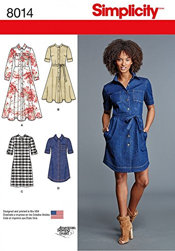Simplicity Ladies Sewing Pattern 8014 Button Up Shirt Dresses in 4 Styles