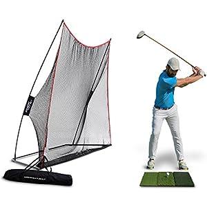 Rukket Haack Golf Net (10x7) Bundle with Tri-Turf Hitting Mat (Lifetime Warranty)