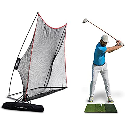 Rukket 3pc Golf Bundle | 10x7ft Haack Golf Net | Tri Turf Hitting Mat | Carry Bag | Practice Driving Indoor and Outdoor | Golfing at Home Swing Training Aids | By SEC Coach Chris (Simulators For Women)