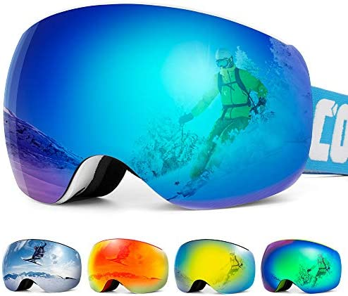 COPOZZ OTG Ski Goggles for Men Women Youth, P2 Over Glasses Snowboard Skiing Snowmobile Goggles, Dual-Layer Lens with Anti Fog UV 400