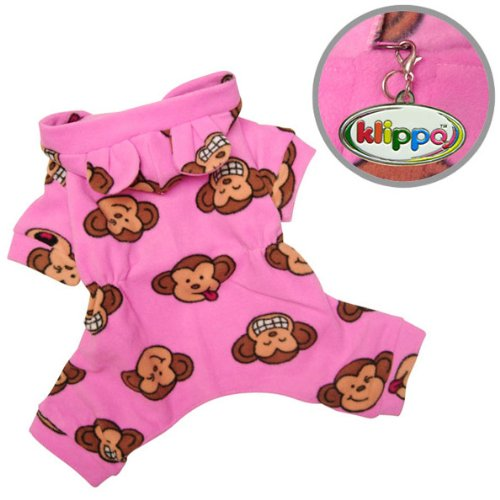 Adorable Silly Monkey Fleece Dog Pajamas / Bodysuit with Hood Color: Pink, Size: Medium, My Pet Supplies