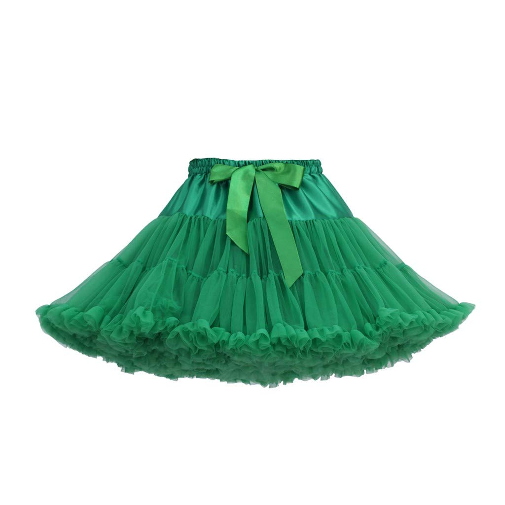 Women's Tulle Skirts A-Line Mini Skirts Fashion Sexy Solid Color Party Dance Ballet Bow Short Tutu Skirts (Free Size, C)