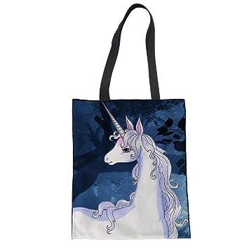 SHOUTIBAOBAO Lona Bolso De Mano,3D Lindo Unicornio ...