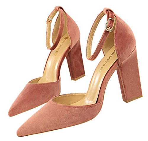 DADAWEN Women's Pointed Toe Block Heel Ankle Strap Dress Pumps Wedding Bridal Court Shoes Pink bVYscZq2