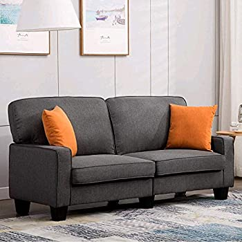 Amazon.com: Mecor Loveseat Sofa Linen Fabric Loveseat Couch ...