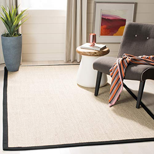(Safavieh Natural Fiber Collection NF143A Marble and Black Sisal Area Rug (8' x)