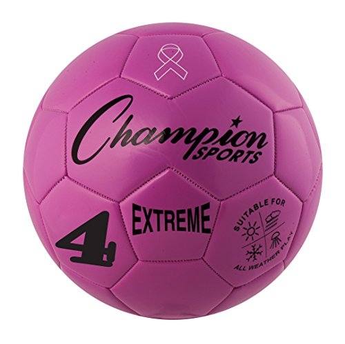 Champion Sports Extreme Series Soccer Ball, Size 4 - Youth League, All Weather, Soft Touch, Maximum Air Retention - Kick Balls for Kids 8-12 - Competitive and Recreational Futbol Games, (Pink Soft Soccer Ball)