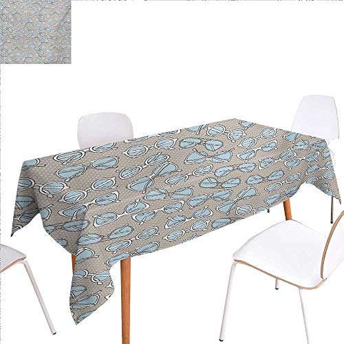 familytaste Retro Dinner Picnic Table ClothVintage Hipster Glasses Pattern on Polka Dots Backdrop Eyesight Optic Design Waterproof Table Cover for Kitchen 60