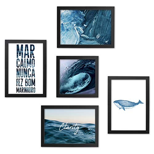 Conjunto Quadros Decorativos Mar Azul Moldura Preta 74x74cm - Gift