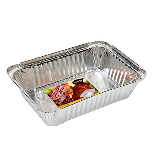 XIAFEI Disposable Durable Aluminum Rectangular Foil Pans, Take-Out Containers, Pack of 50 with PET Plastic Lids by XIAFEI (Image #2)