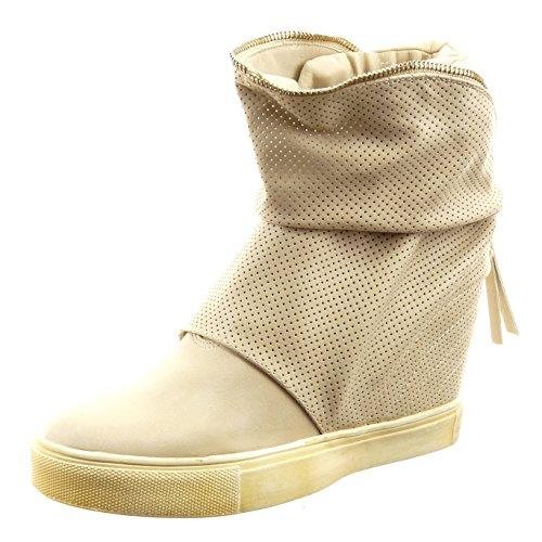 Sopily - Scarpe da Moda Stivaletti - Scarponcini zeppe alla caviglia donna perforato zip Tacco zeppa piattaforma 8.5 CM - Beige