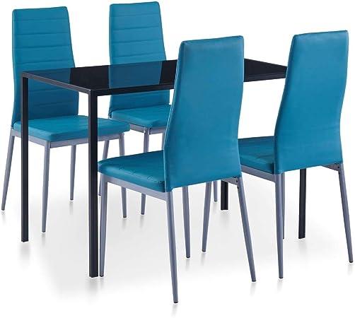 vidaXL Set da Pranzo 5 pz Elegante Moderno Robusto Arredi Cucina Sala da Pranzo Blu Ripiano Tavolo Vetro Temperato e Sedie Similpelle