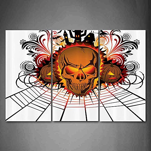 Hanging Wall Art Oil Painting 3 Panel,Halloween 3D Picture Print,Angry Skull Face on Bonfire Spirits of Other World Concept Bats Spider Web Design,Home Decoration Wall Decor Gift,Brown ,Indoor/Living]()