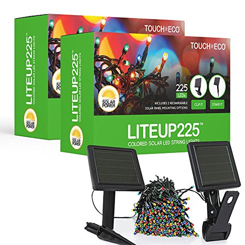 Touch Of ECO LITEUP225 Solar String Lights, Multi (Pack of 2) by Touch Of ECO
