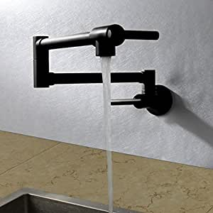 Aawang Grifo De Cocina Cuenca Faucet De Fregadero Grifo De Agua Fría Escamoteable Plegado Embedded Pared Negro Orb: Amazon.es: Bricolaje y herramientas