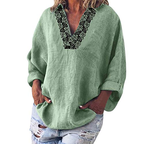 KLFGJ Women's Long Sleeve Blouse Solid Color Shirts with Lace Leisure Tops V-Neck Print T-Shirt Elegant Tops Mint ()