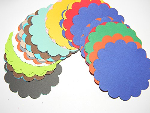 100 mixed colors scallop 2 1/4 inch journal tags gift tags scrapbooking party supplies