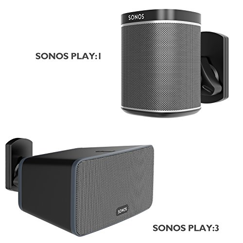 1home Speaker Wall Mount Bracket for SONOS Play:1 and Play:3 Pivot Tilt Swivel Black (Sonos Play 3 Wall Mount)