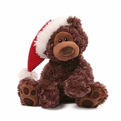 "Gund Fun Christmas Philbin Chocolate Bear 12"" Plush with Santa's Hat"